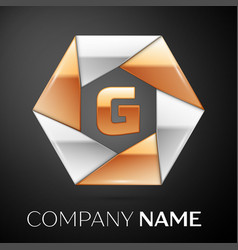 Letter g logo symbol in the colorful hexagon on vector