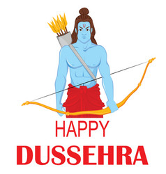 Lord rama with bow and arrows for dussehra vector