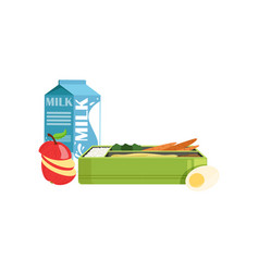 lunch box with apple carrot egg and milk vector image