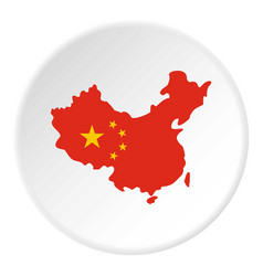 map of china in national flag colors icon circle vector image