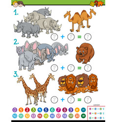 maths addition educational game with animals vector image