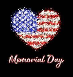 memorial day poster with sparkling american flag vector image