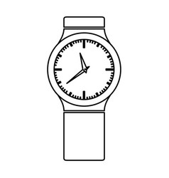 Monochrome contour with small male wristwatch vector