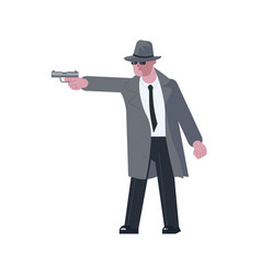 mysterious man takes aim with a pistol isolated vector image