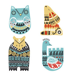 nordic animals owl hare bear swan in vector image