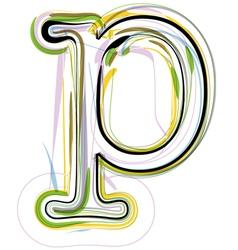 Organic Font letter p vector