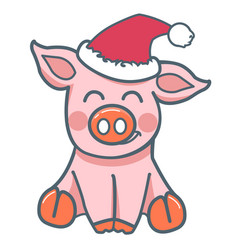 pig animal flat style vector image