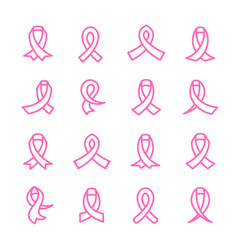 pink ribbons icons set vector image