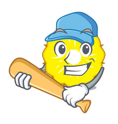 playing baseball pineapple slice character cartoon vector image