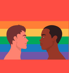 Portrait cute two young men gay couple look at vector