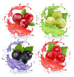 Realistic berries in juices splash set vector