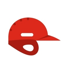 Red baseball helmet flat icon vector image