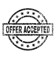 Scratched textured offer accepted stamp seal vector