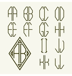 Set 1 templates of letters to create monogram vector image