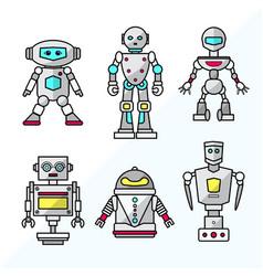 set cartoon friendly robots vector image