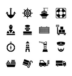 Set icon port ship in glyph style vector