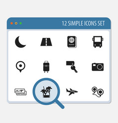 Set of 12 editable journey icons includes symbols vector