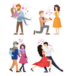Set of couples in love hugging dance tango vector
