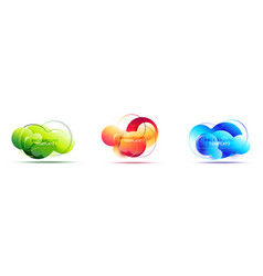 set of dynamic liquid abstract geometric banners vector image