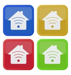 Set of four square icons - house with signal vector