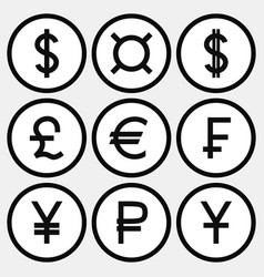 set of monochrome icons with different currency vector image