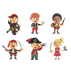 Set of pirates cartoon pirate icon set vector