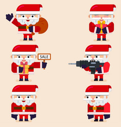 set of santa with diferent poses vector image