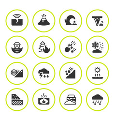 Set round icons of natural disaster vector