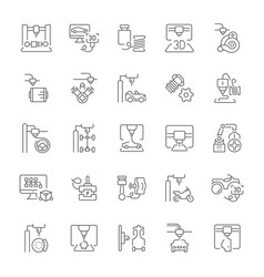 set simple icons 3d cars printing vector image