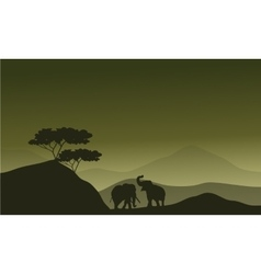 Silhouette of elephant in hills vector image