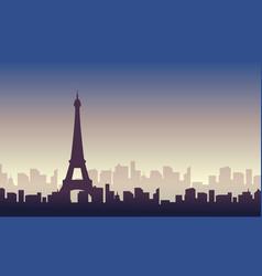 Silhouette of paris skyline scenery vector