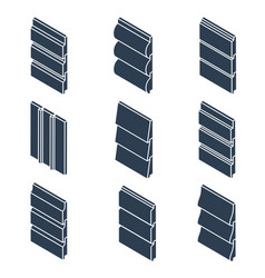 Silhouettes siding profiles in isometric view vector