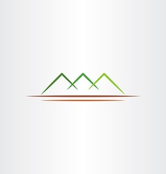 Simple stylized green mountain icon design symbol vector
