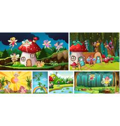 Six different scene nature fantasy world vector