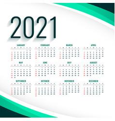 Stylish 2021 modern calendar design template in vector