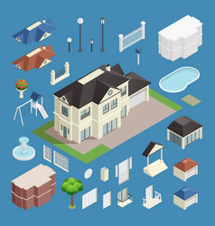 suburb house isometric set vector image