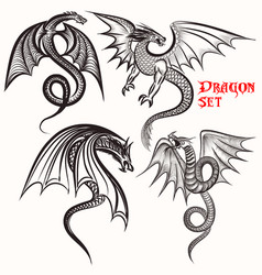 Tattoo collection from hand drawn dragons vector