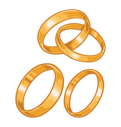 two golden wedding rings color flat vector image