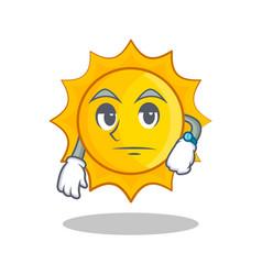 Waiting cute sun character cartoon vector