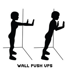 Wall push ups sport exersice silhouettes of woman vector