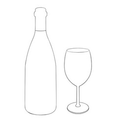 wine bottle and a glass of wine outline hand vector image