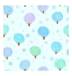 Winter trees and snowflakes seamle vector image
