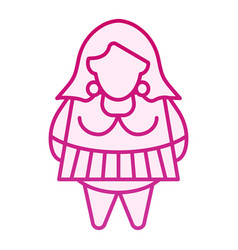 Woman plus size flat icon fat girl pink icons vector