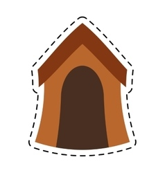 Wooden house dog pet line dotted vector