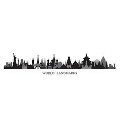 World skyline landmarks in black and white vector