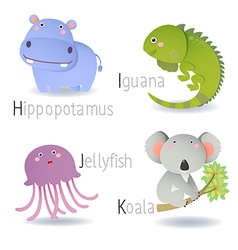 Alphabet with animals from H to K vector image vector image