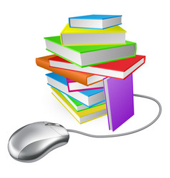 book stack computer mouse vector image vector image