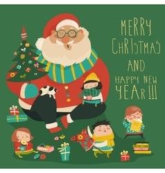 Cartoon Santa with kids vector image vector image