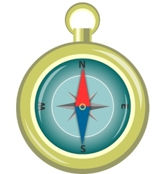 Glossy Compass With Windrose vector image