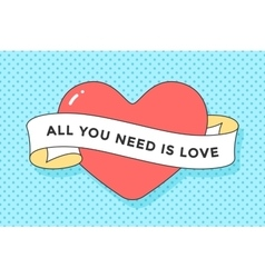 Old ribbon with message Valentine Day and red vector image